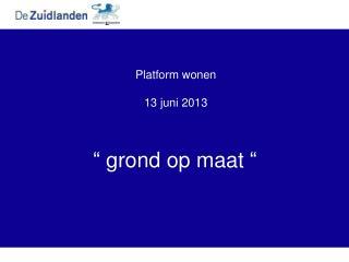Platform wonen 13 juni 2013