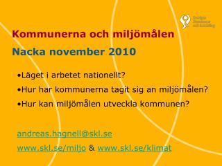 Kommunerna och milj�m�len Nacka november 2010