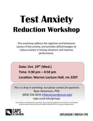 Test Anxiety  Reduction Workshop