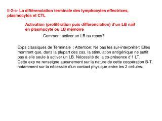 II-2-c- La différenciation terminale des lymphocytes effectrices, plasmocytes et CTL