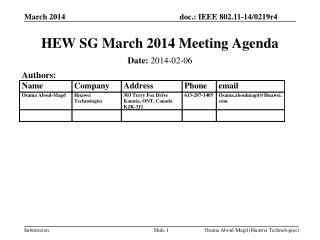 HEW SG March 2014 Meeting Agenda