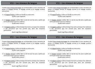 V11 – Les niveaux de langue