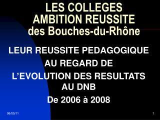 LES COLLEGES  AMBITION REUSSITE des Bouches-du-Rhône