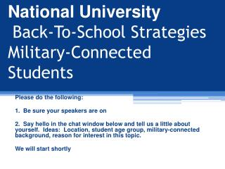 National University Back-To-School  Strategies Military-Connected  Students