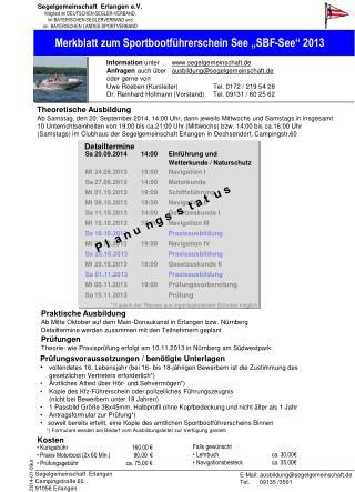 """Merkblatt zum Sportbootführerschein See """"SBF-See"""" 2013"""