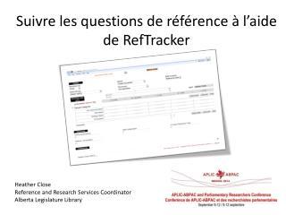 Suivre les questions de référence à l'aide de  RefTracker