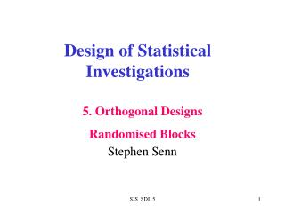Design of Statistical Investigations