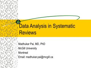 Data Analysis in Systematic Reviews