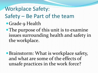 Workplace Safety and Health Rights and Responsibilities  Lesson 2