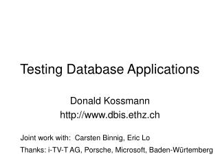 Testing Database Applications