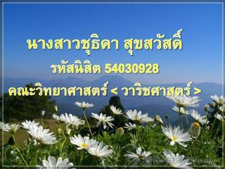 นางสาวชุธิดา สุขสวัสดิ์ รหัสนิสิต 54030928 คณะวิทยาศาสตร์  <  วาริชศาสตร์  >