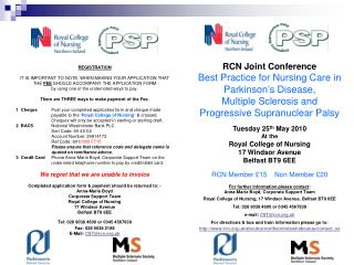 RCN Joint Conference Best Practice for Nursing Care in  Parkinson's Disease,