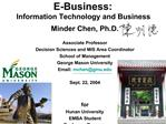 E-Business:  Information Technology and Business