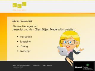 Office 365 / Sharepoint 2010 Kleinere  Lösungen  mit