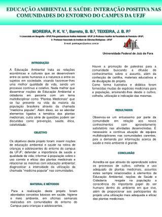 EDUCAÇÃO AMBIENTAL E SAÚDE: INTERAÇÃO POSITIVA NAS COMUNIDADES DO ENTORNO DO CAMPUS DA UFJF
