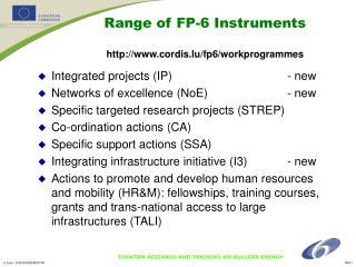 Range of FP-6 Instruments cordis.lu/fp6/workprogrammes
