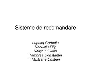 Sisteme de recomandare
