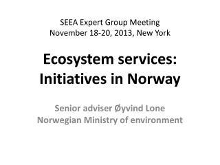 Senior adviser Øyvind Lone Norwegian Ministry of environment