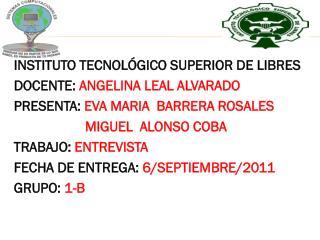 INSTITUTO  TECNOLÓGICO  SUPERIOR DE LIBRES DOCENTE:  ANGELINA LEAL ALVARADO