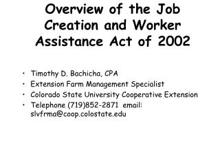 Overview of the Job Creation and Worker Assistance Act of 2002