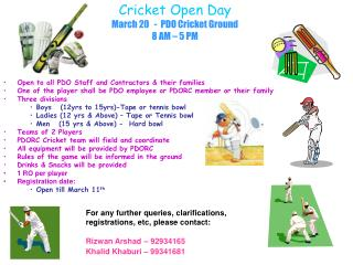 Cricket Open Day March 20   -  PDO Cricket Ground 8 AM – 5 PM