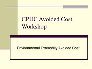 CPUC Avoided Cost Workshop
