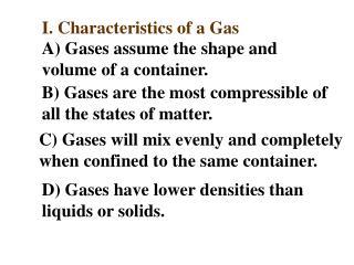 I. Characteristics of a Gas