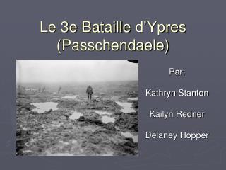 Le 3e  Bataille d'Ypres ( Passchendaele )