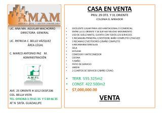 CASA EN VENTA  PRIV. 29 OTE. Y 31 ORIENTE COLONIA EL MIRADOR
