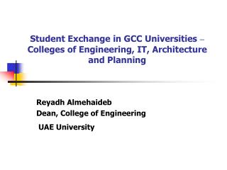 Student Exchange in GCC Universities  –  Colleges of Engineering, IT, Architecture and Planning