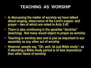 TEACHING   AS   WORSHIP