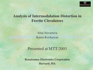 Analysis of Intermodulation Distortion in Ferrite Circulators