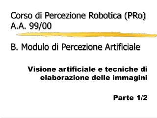Corso di Percezione Robotica (PRo) A.A. 99/00 B. Modulo di Percezione Artificiale