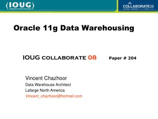Oracle 11g Data Warehousing