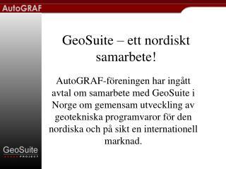 GeoSuite – ett nordiskt samarbete!