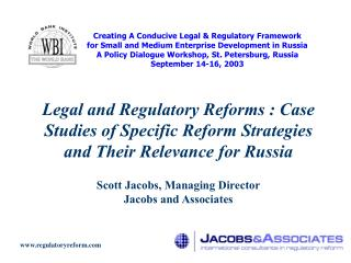 Creating A Conducive Legal & Regulatory Framework