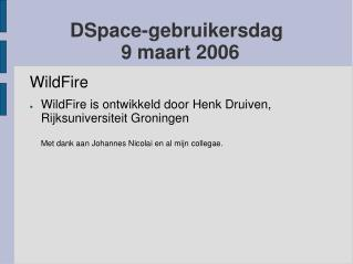 DSpace-gebruikersdag 9 maart 2006