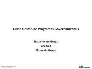 Curso Gestão de Programas Governamentais