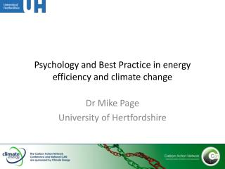 Psychology and Best Practice in energy efficiency and climate change