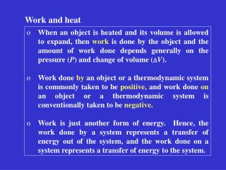 Work and heat