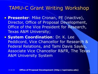 TAMU-C Grant Writing Workshop