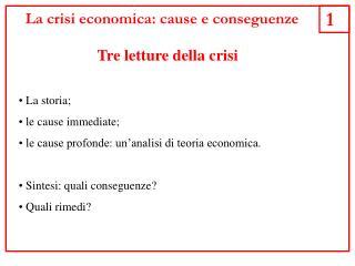 La crisi economica: cause e conseguenze
