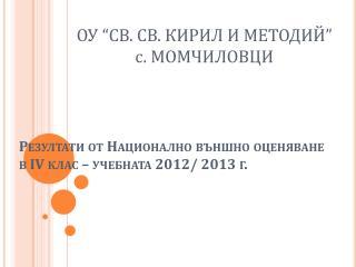 Резултати от Национално външно оценяване  в ІV клас – учебната 201 2 / 201 3  г.