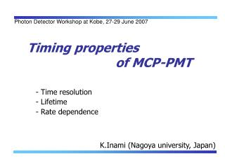 Timing properties                          of MCP-PMT