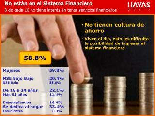 No están en el Sistema Financiero 8 de cada 10 no tiene interés en tener servicios financieros