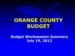 Budget Worksession Summary July 19, 2012