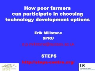How poor farmers  can participate in choosing technology development options