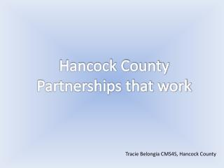 Hancock County Partnerships that work