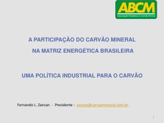 A PARTICIPAÇÃO  DO CARVÃO  MINERAL NA MATRIZ ENERGÉTICA BRASILEIRA
