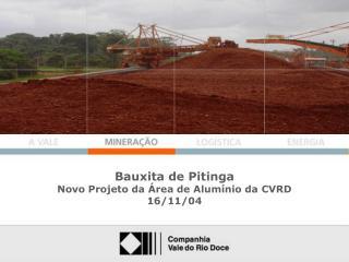 Bauxita de Pitinga Novo Projeto da Área de Alumínio da CVRD 16/11/04
